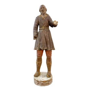 Antique San Isidro 32 In. Wood Statue For Sale