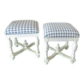 Cream and Blue Upholstered Seats Low Stools - a Pair
