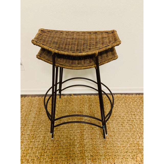 Brown Mid-Century Modern Wrought Iron and Wicker Bar Stools by Arthur Umanoff - a Pair For Sale - Image 8 of 9