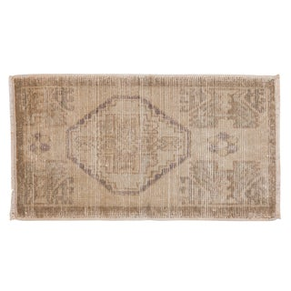"Vintage Distressed Oushak Rug Mat - 1'8"" X 3' For Sale"