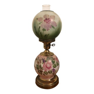 Antique Painted Double Globe Lamp For Sale