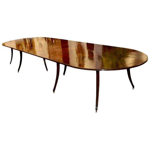 Custom Mid-Century Modern Mahogany Dining Table in Regency Style For Sale