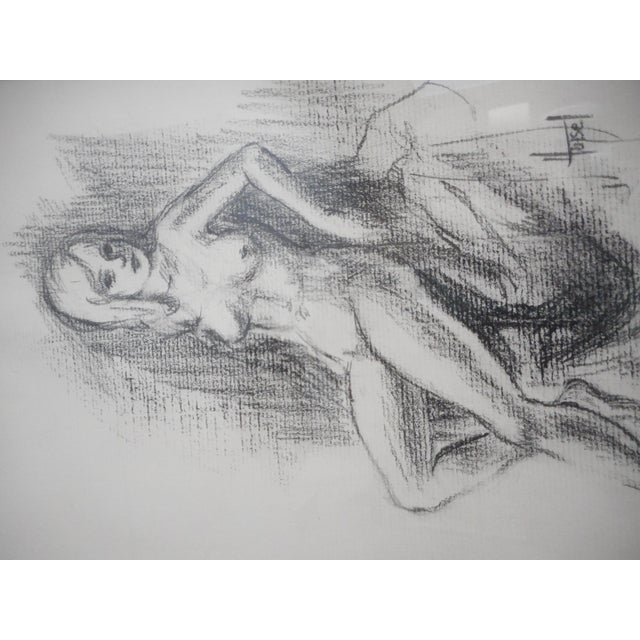 1970s Vintage Charcoal Female Nude Drawing For Sale - Image 5 of 6