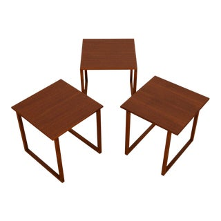 Kai Kristiansen Set of 3 Teak Cube Nesting Tables For Sale