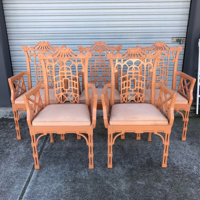 Vintage Fretwork Chinese Chippendale Dining Chairs - Set of 5 For Sale - Image 13 of 13
