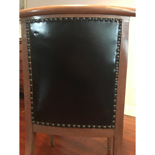**Final Price** Vintage Tufted Black Leather Arm Chair For Sale - Image 6 of 7