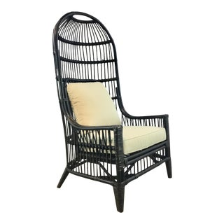 Modern Black Rattan and Bamboo Hooded Lounge Chair For Sale
