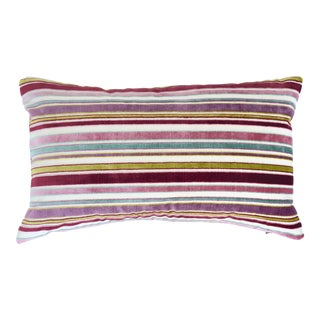 FirmaMenta Italian Pink Striped Velvet Lumbar Pillow For Sale