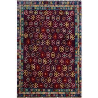 1990s Southwestern Balouchi Cleotild Purple/Blue Wool Rug - 4'10 X 6'5 For Sale