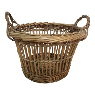 Vintage Woven Basket With Handles For Sale