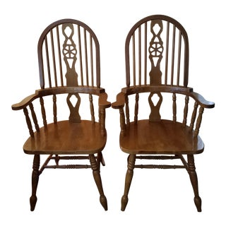 1960s Mid Century Modern Ming High Back Golden Elm Armed Chairs - a Pair For Sale