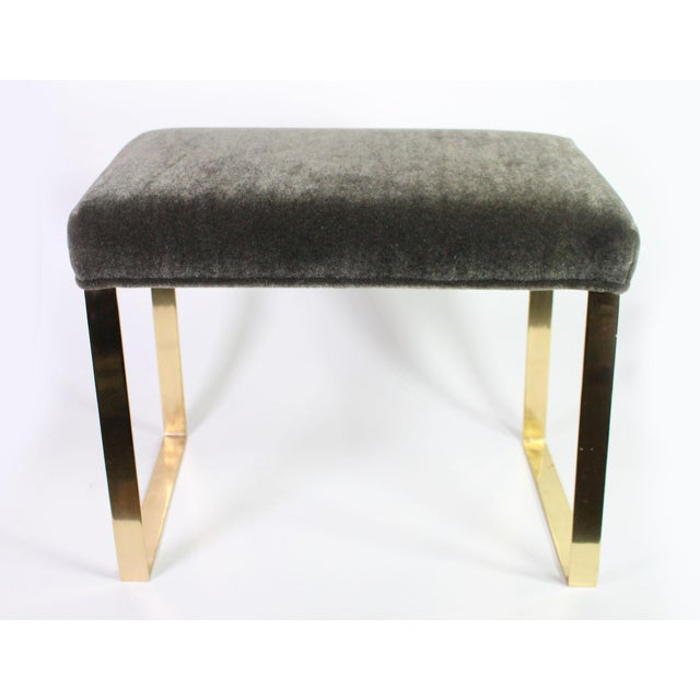 Custom made vanity type bench with gleaming solid brass square legs and upholstered in the finest vintage sage color...