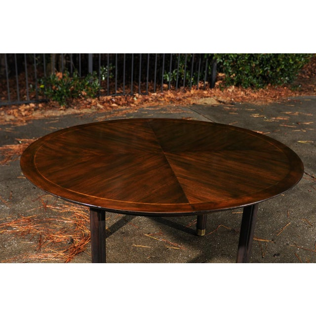 Majestic Restored Elliptical Walnut Extension Dining Table by Baker, circa 1958 For Sale - Image 9 of 11