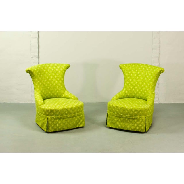 French Fine pair of French Design Napoleon III Style Lime Green Boudoir / Slipper Chairs, 1900s For Sale - Image 3 of 12