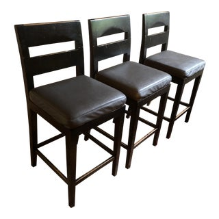 Uptown Woodcraf Walnut Counter Stools - Set of 3 For Sale