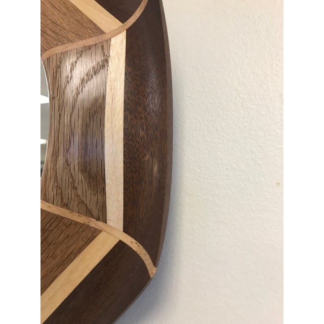 2010s Custom Oak and Walnut With Maple Inlay Mirror For Sale - Image 5 of 6