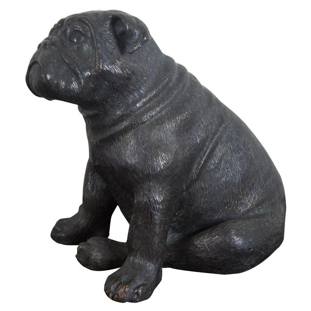 Theodore Alexander British Bulldog bronze sculpture or statue. Purchased from David A. Millet Inc.