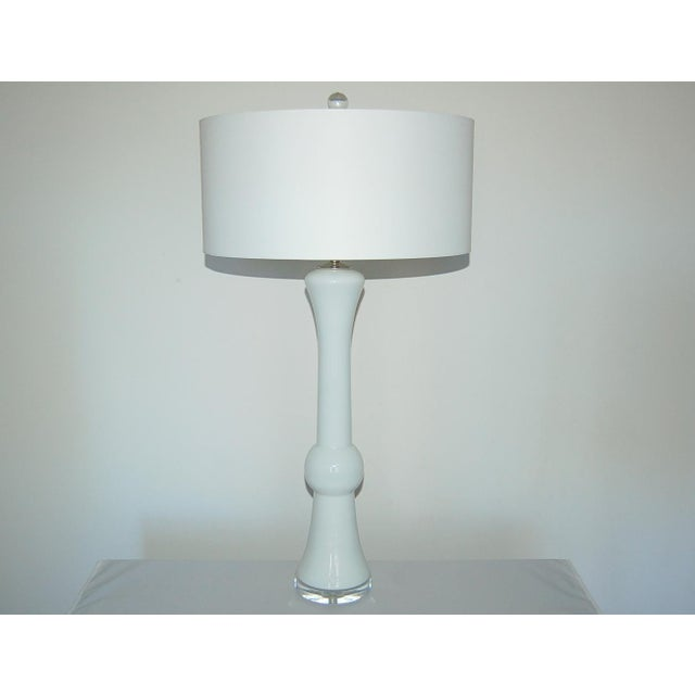 Contemporary Vintage Murano Glass Table Lamps White For Sale - Image 3 of 9