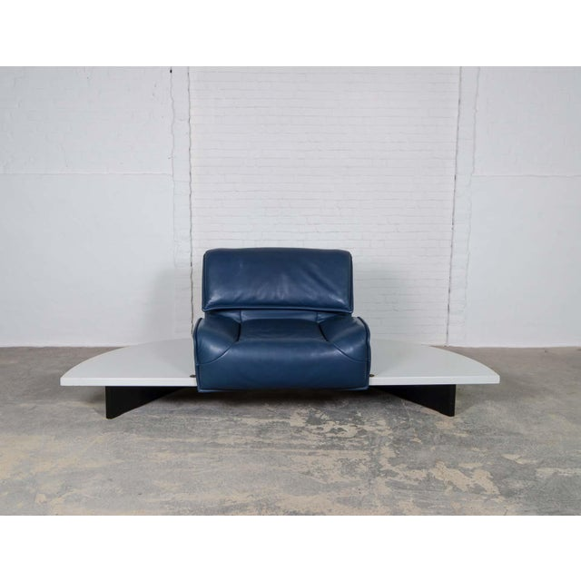 Animal Skin Mid-Century Modern Design Deep Navy Blue Leather Three-seat 'Veranda' Sofa by Vico Magistretti for Cassina, 1970s For Sale - Image 7 of 13