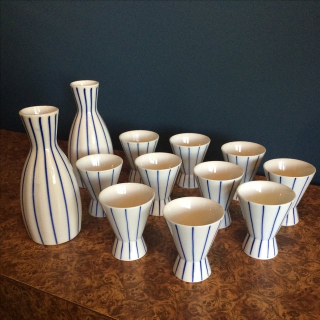 Blue & White Striped Sake Set - 12 Pieces - Image 2 of 5