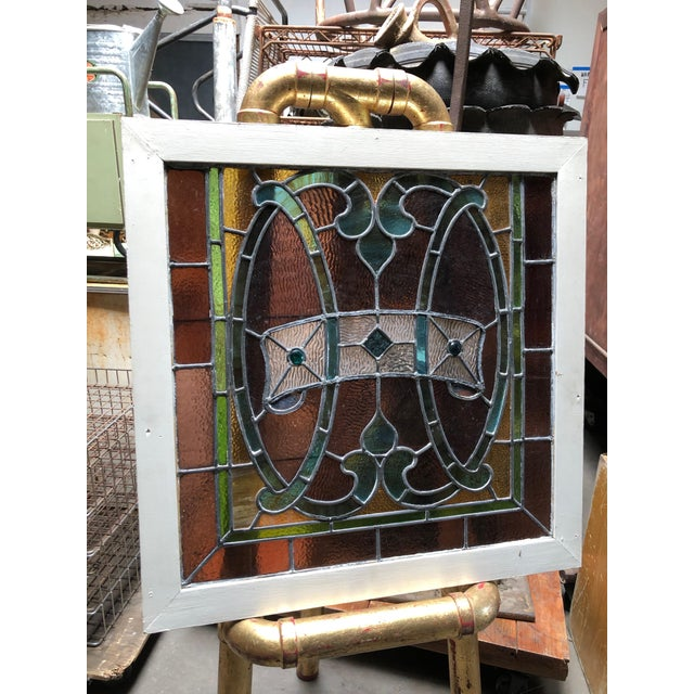 1960s Vintage Framed Square Stained Glass For Sale - Image 12 of 12