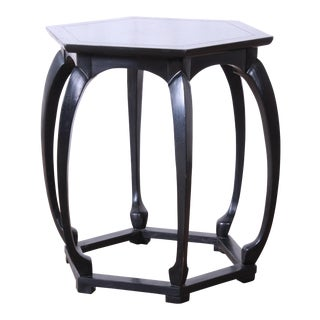 Baker Furniture Ebonized Hollywood Regency Chinoiserie Occasional Table For Sale