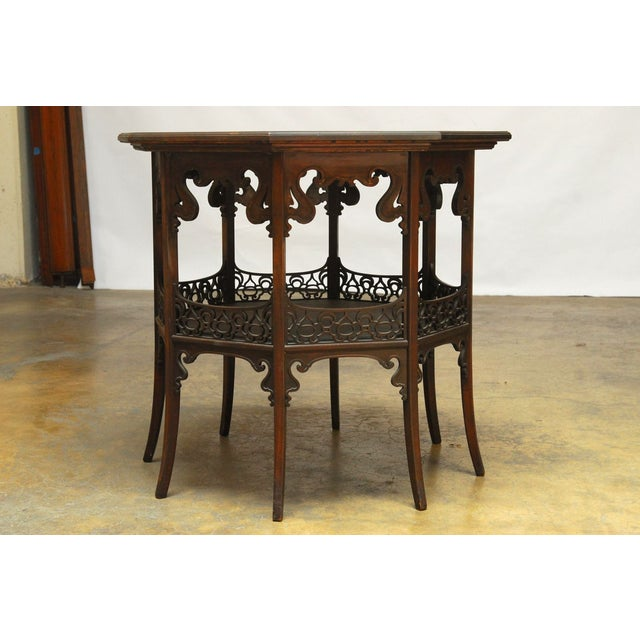 Middle Eastern Octagonal Relief Carved Top Table - Image 2 of 6