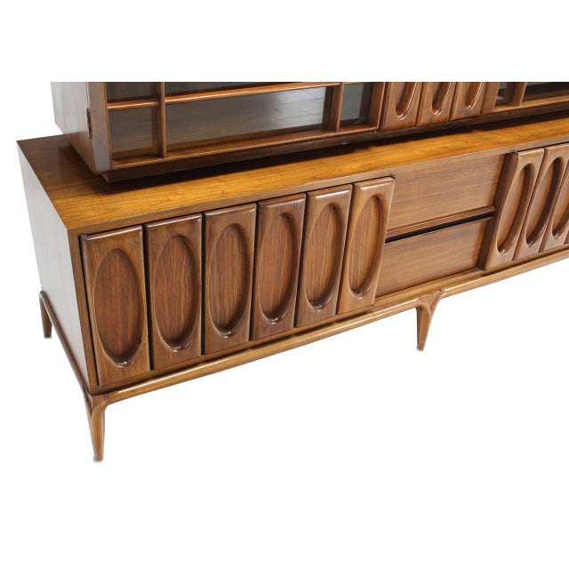 Large Heavily Carved Front Walnut Two Part Breakfront Bookcase Cabinet For Sale - Image 4 of 7