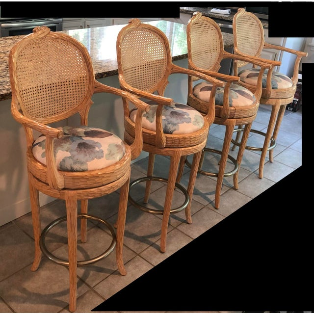 Contemporary Vintage Faux Bois Cane Back Whitewash Natural Wood Stools With Arms and Brass Footrests - Set of 4 For Sale - Image 3 of 11