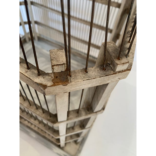 Large Painted Grey Wood & Wire Birdcage For Sale - Image 11 of 12