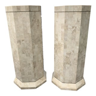 1960s Vintage Maitland Smith Tessellated Stone Columns- A Pair For Sale