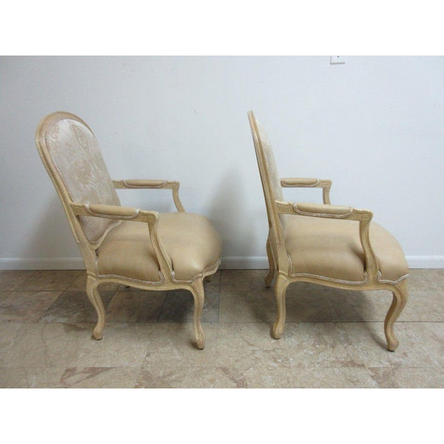 Vintage Louis XV Custom Leather Italian Carved Fireside Lounge Club Chairs - a Pair For Sale - Image 9 of 10