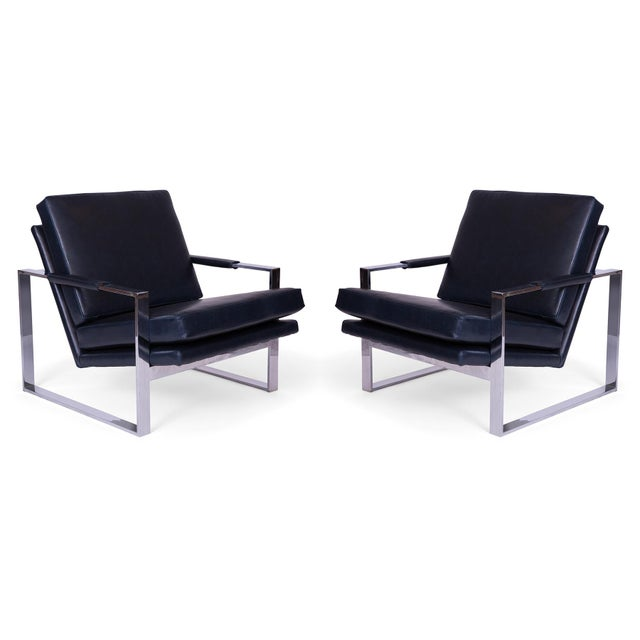 1970s Mid Century Milo Baughman Thayer Coggin Leather Lounge Chairs - a Pair For Sale - Image 5 of 5