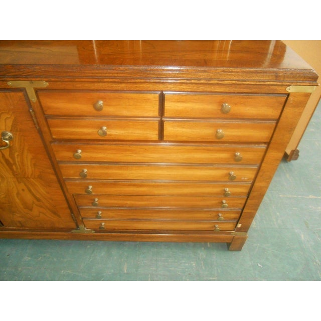 Lane Furniture Burl Maple Triple Dresser & Mirror - Image 8 of 8
