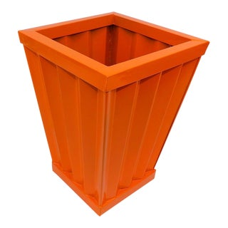 Mid-Century Modern Orange Metal Trash Can - Bathroom or Office For Sale