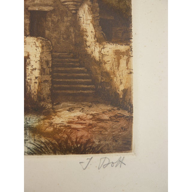 French Lake House Etching - Image 2 of 2