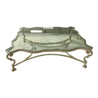 Beveled Glass Top Cocktail Table For Sale