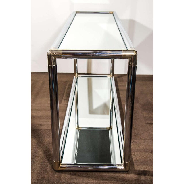 Metal Italian Mid-Century Modern Mirrored and Chrome Two Tier Console Table, C. 1970 For Sale - Image 7 of 12