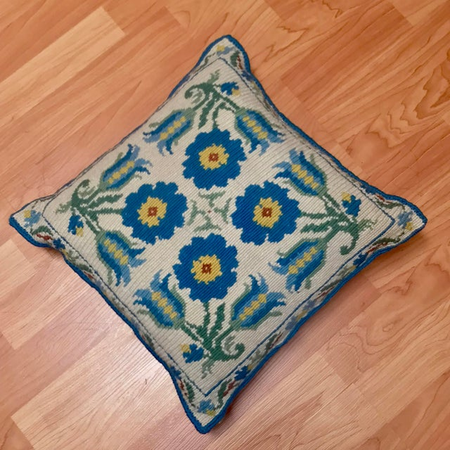 1950s Shabby Chic Handmade Needlepoint Pillow For Sale - Image 13 of 13