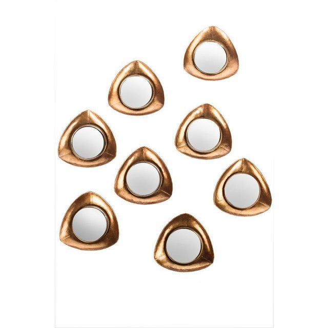 """New set of 8 mirrors in rose gold. Materials: Metal, glass Measurements: 12""""w x 2""""d x 12""""h. 2 lbs each"""