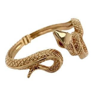 Vintage Hinged 14k Gold Snake Bracelet Ruby Eyes For Sale