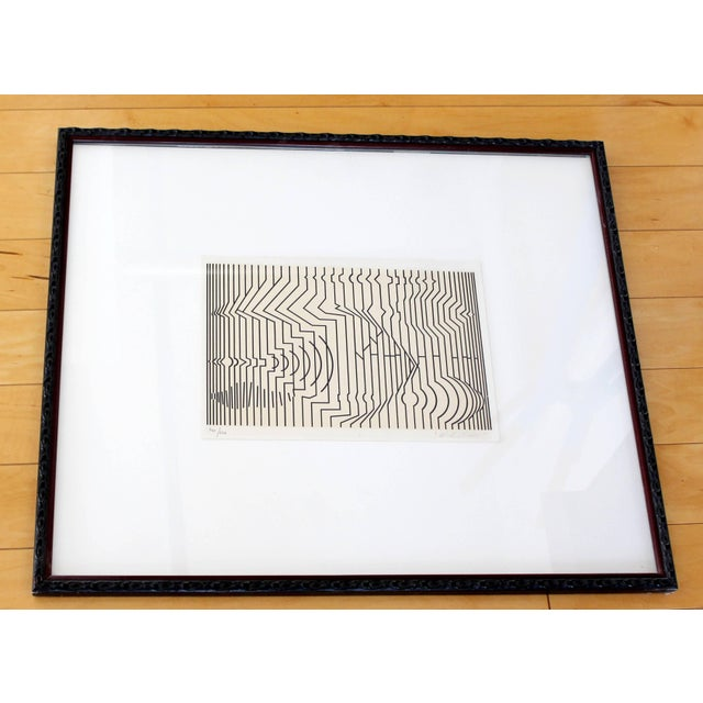Printmaking Materials Mid-Century Modern Framed Pop Art Print Signed Numbered by Vasarely 460/650 For Sale - Image 7 of 7