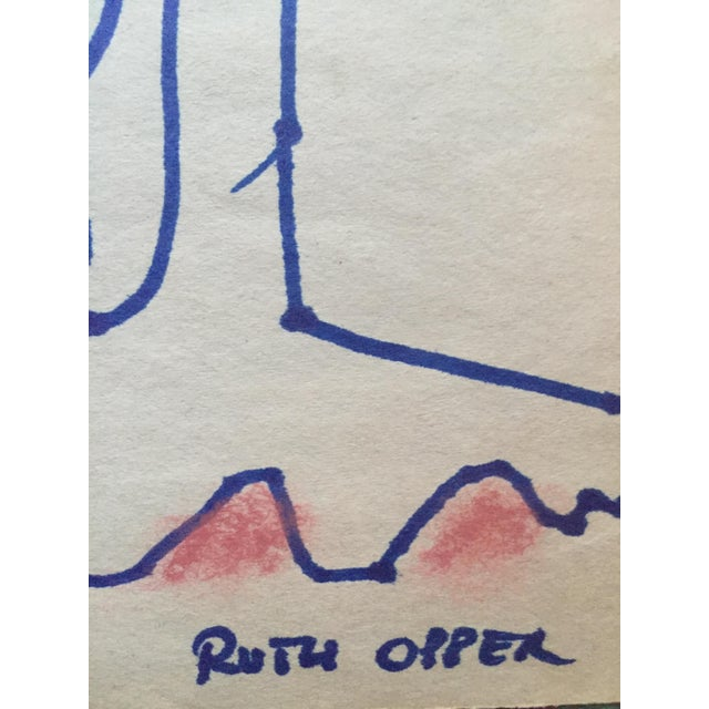 """Ruth Opper c.1950s Abstract Expressionism Ink and Pastel Contour Drawing on newsprint 18"""" x 12"""" unframed Signed Ruth Opper..."""