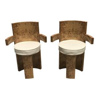 1930s Vintage Art Deco Sculptural Burl Wood Arm Chairs - A Pair For Sale