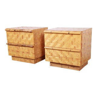 Mid-Century Modern Hollywood Regency Chinoiserie Bamboo Parquetry Nightstands, Pair For Sale