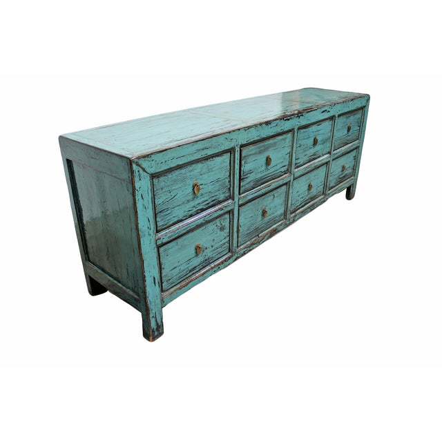 Distressed Blue 8-Drawer Cabinet - Image 2 of 4