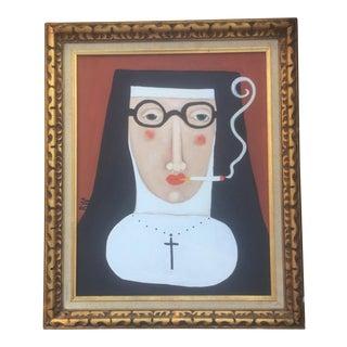 Contemporary Folk Artist Rose Walton Smoking Nun