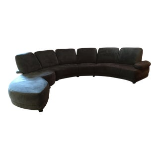 Contemporary Charcoal Upholstered 3-Pc. Sectional Sofa For Sale