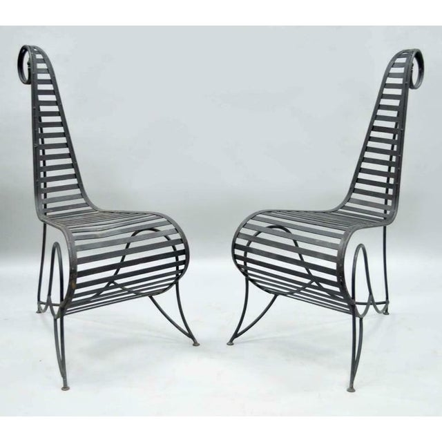 Vintage Whimsical Steel Iron Spine Lounge Chairs After André Dubreuil - A Pair For Sale - Image 9 of 10