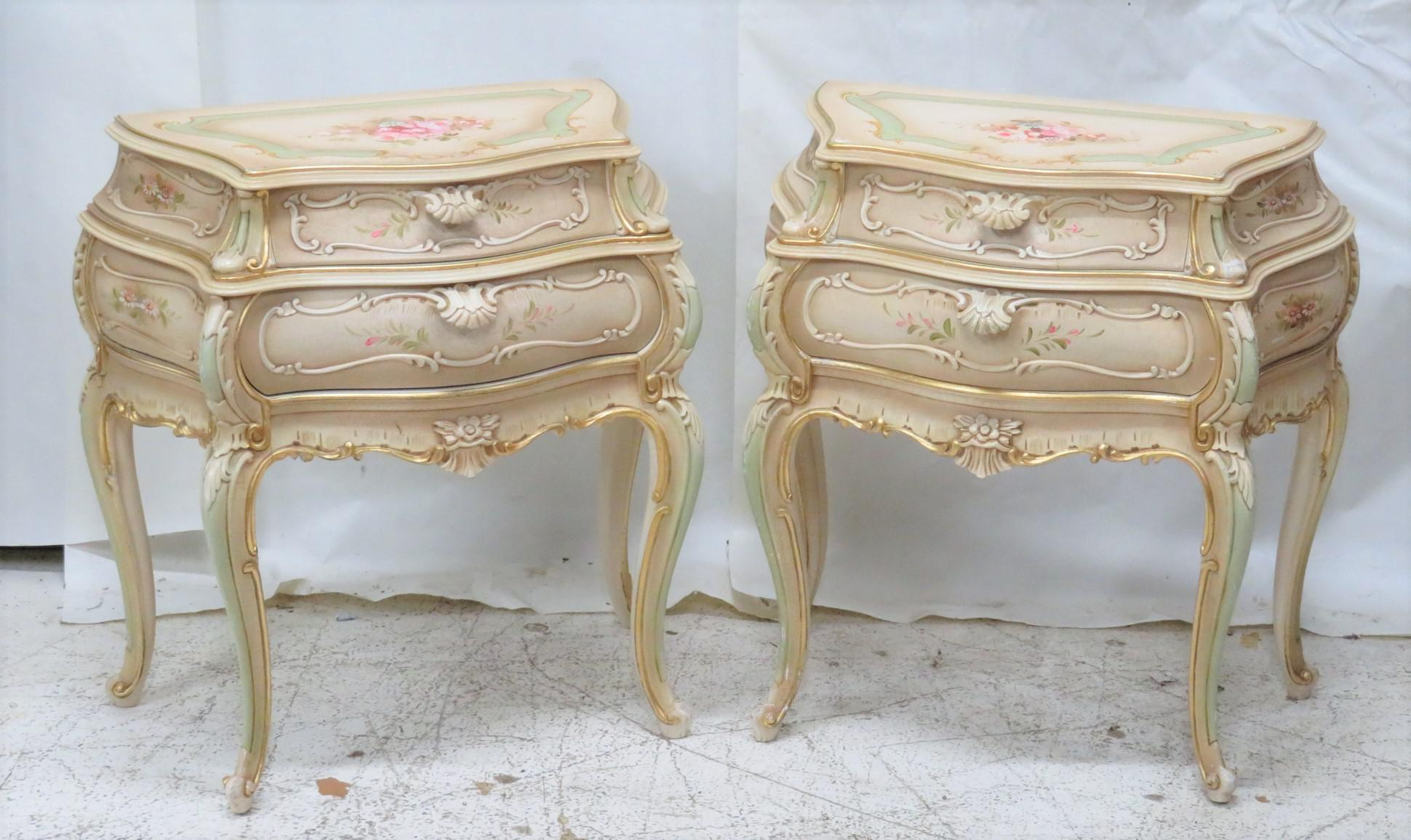 Venetian Style Paint Decorated Bombe Nightstands A Pair Chairish